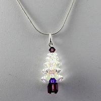 Crystal Christmas Tree Pendant - Crystal AB & Amethyst