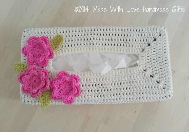crochet kleenex | Crochet Tissue Box Cover With Pink Flower, Customizable, Shabby Chic ...