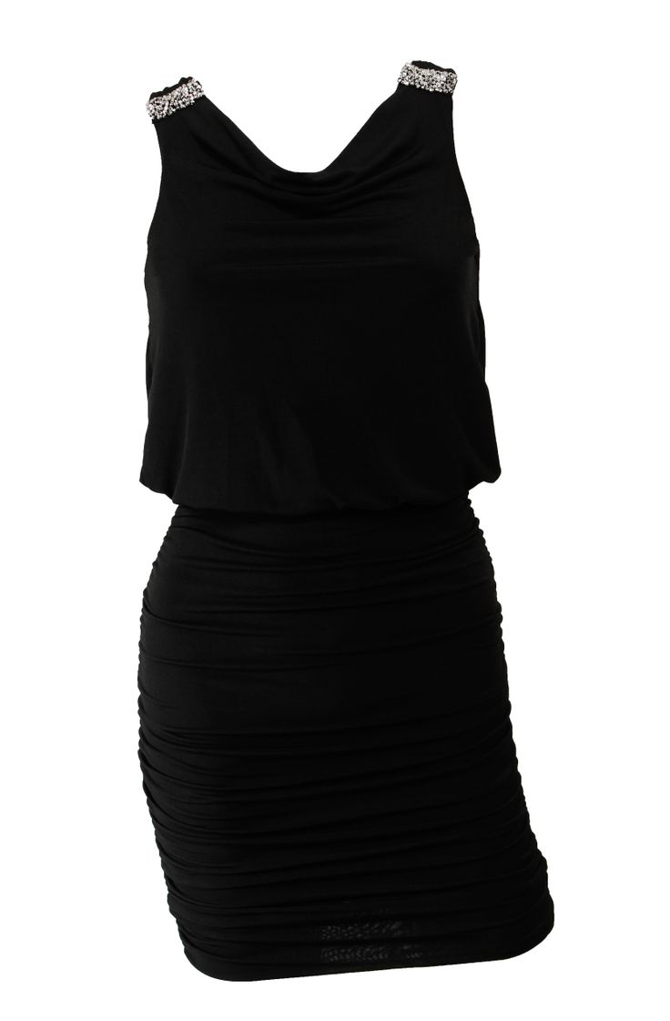 Soto Beaded Blousson Dress Black