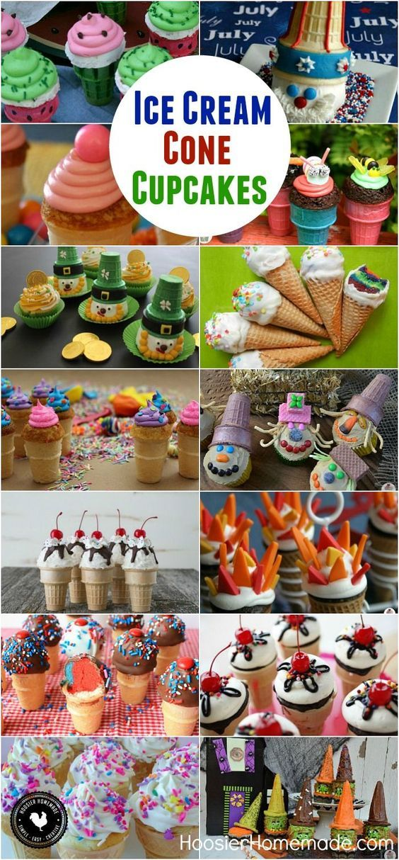 Bake a cupcake right in an Ice Cream Cone for a fun treat! Have the best of both worlds - Ice Cream Cones + Cupcakes! These 15 Cupcake Cone Recipes are sure to please everyone! Click on the Photo for the Recipes!