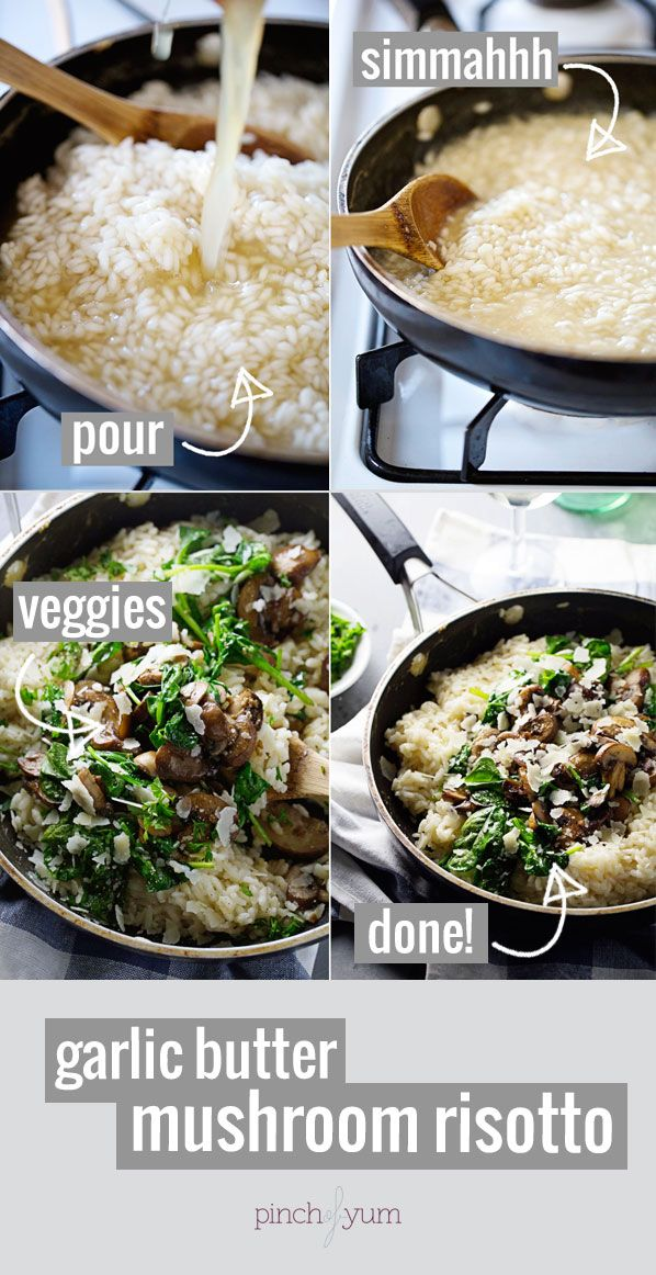 Garlic Butter Mushroom Risotto | And a protein and you have a perfect post workout meal! SERIOUSLY yummy. 370 calories. | pinchofyum.com