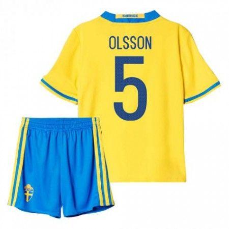 Sverige Trøje Børn 2016 #Olsson 5 Hjemmebanesæt Kort ærmer.199,62KR.shirtshopservice@gmail.com