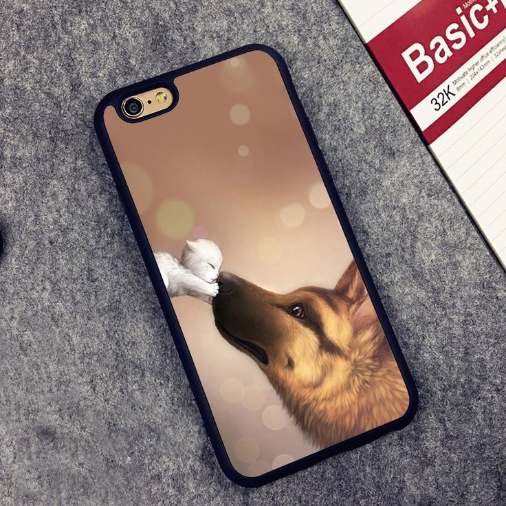 >> Click to Buy << german shepherd and a cute kitten Soft Rubber Back Case Cover For iPhone 6 6S Plus 7 7 Plus 5 5S 5C SE 4 4S Mobile phone bag #Affiliate