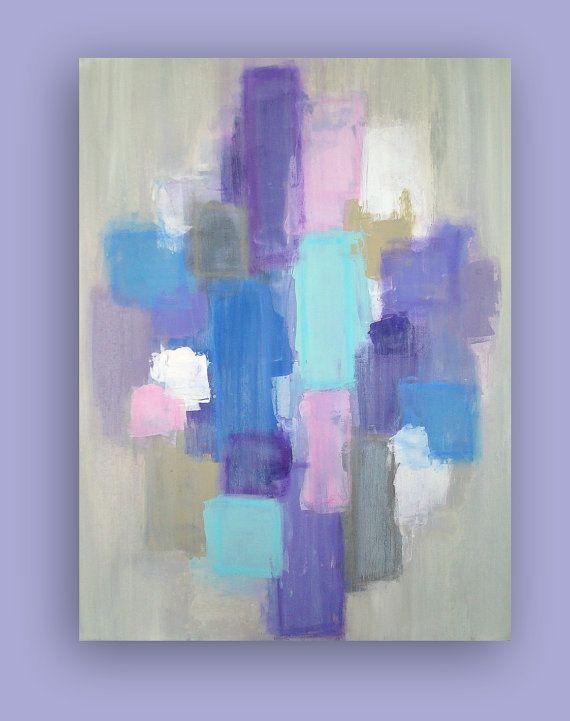 Original Purple and Blue Acrylic Abstract by OraBirenbaumArt
