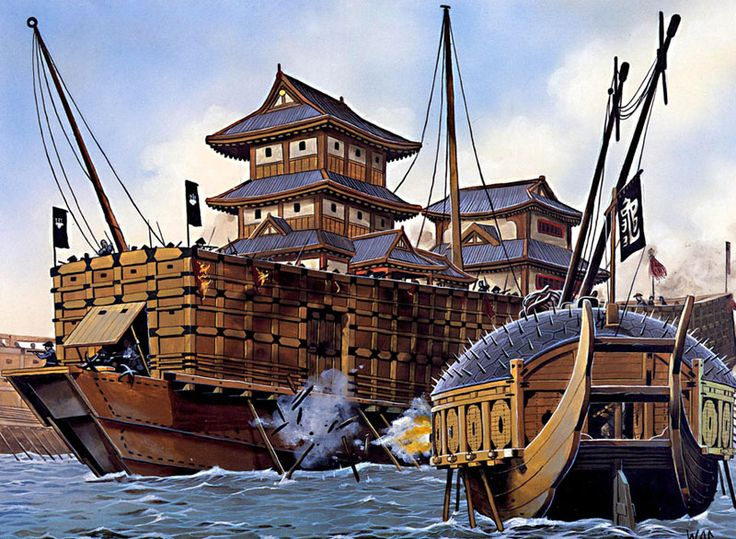 """""""The Nihon Maru, flagship of the japanese navy, is holed by a turtle ship during the Battle of Angolp'o, 1592"""", Wayne Reynolds"""