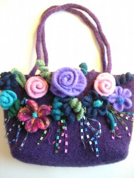 Etsy :: Cast A Spell Bag Pattern PDF Knit Felt Cast A Spell Flower Purse Felted Wool FREE FELTING Steps Include ♡