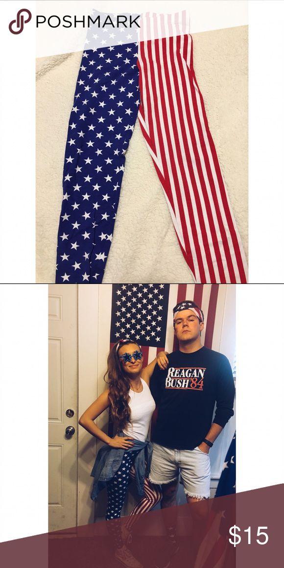 American Flag Leggings Fun and festive American flag leggings. American Apparel Pants Leggings