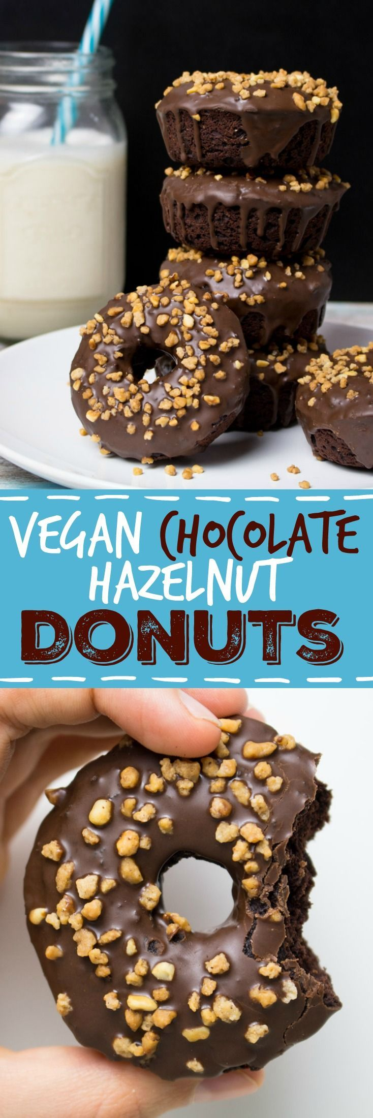 These vegan chocolate hazelnut donuts are not only super delicious and easy to make, but also healthier because they are baked, not fried! It might sound strange, but I used kidney beans for the batter, which made them so moist and chocolatey. #vegan #donuts #beans #doughnuts #dairyfree #chocolate #hazelnuts