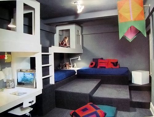 "Kids bedroom and bunks.  Excellent use of ""2nd story"" / DIY mezzanine to expand space."