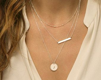Gold Bar Necklace Layered Set of 3 Necklaces by by LayeredAndLong