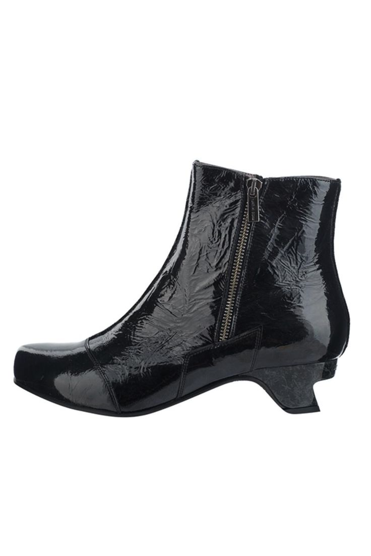 "Black patent ankle boot leather upper and insole. Shaped heel 1.5"" / 4cms. This is a popular boot very comfortable and easy to wear. Acireal Boot by Lisa Tucci. East of England England United Kingdom"