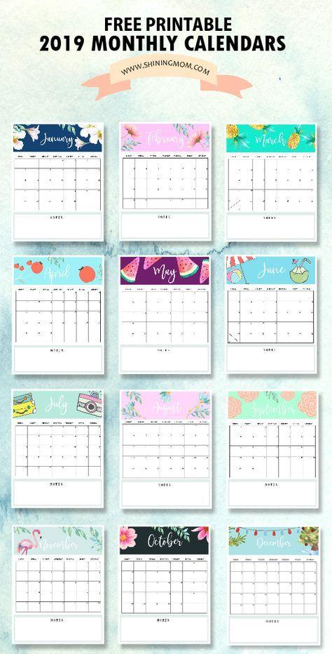 Calendar 2019 Printable: FREE 12 Monthly Calendars To Love ...