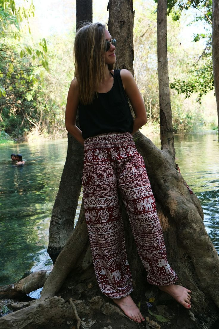 #OneTribeWanderer chilling at some hot springs in #Pai, Thailand rocking Red Elephant Pants by One Tribe Apparel