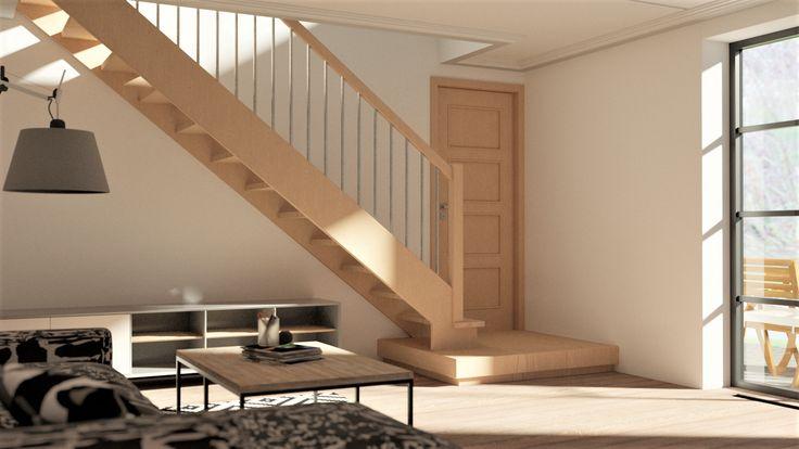 Proste schody z podestem jako pierwszy stopień #schody #schodyzpodestem #trapp #trappor
