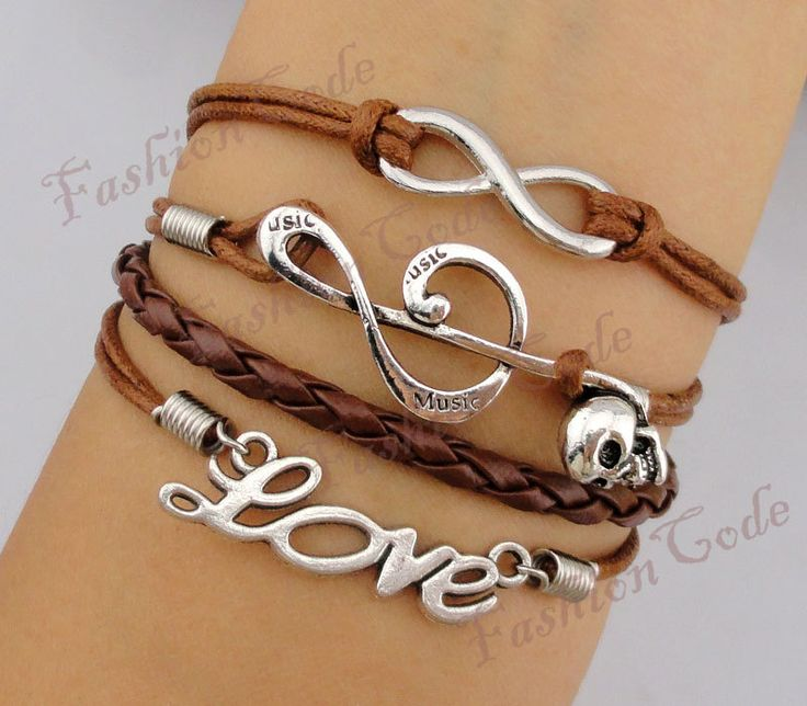 Infinity, Musical Note & Love Charm Bracelet-Silver, Wax Cords and Leather Braided Bracelet-Personalized, Friendship gift. $6,99, via Etsy.