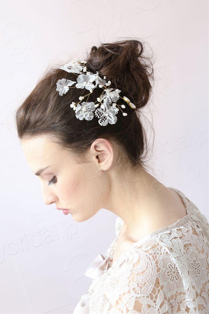 髪飾り アクセサリー パール レース ウェデイング小物 花嫁 SAH006