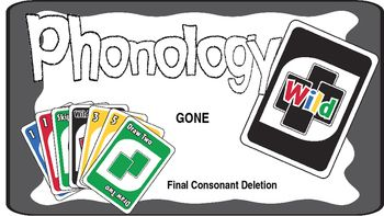 This is an Uno-like game targeted the phonological process of final consonant deletion. Seventy-two word pairs are showcased on the cards, the top picture containing a one-syllable word with a vowel ending, the bottom picture containing a like-CV or CCV word with a final consonant ending (e.g., bee-beach; moo-moon).