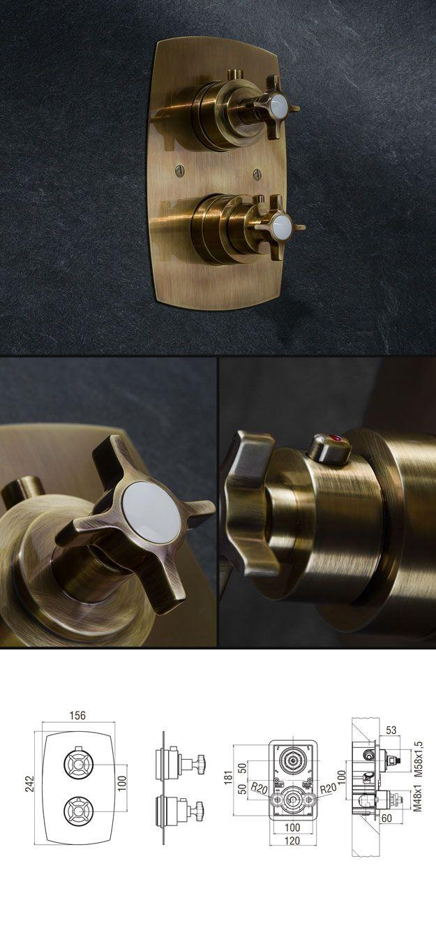 Tadelakt bathroom made by amel kadic - Coco Brass Thermostatic Shower Valve 34h