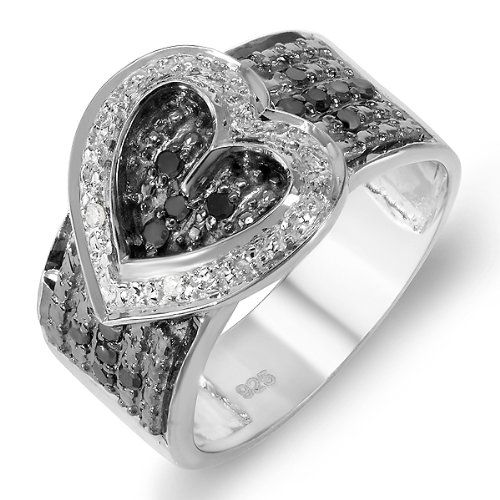 ($79.00) Sterling Silver Buckle Heart Ladies Round Black and White Diamond Cocktail Right Hand Ring 1/3 CT (0.33 cttw, H-I color, I1-I2 quality)   From DazzlingRock Collection