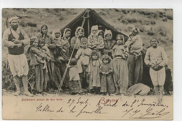 A family of gypsies ('cingene') in front of their tent. In the Izmir region, ca. 1900.