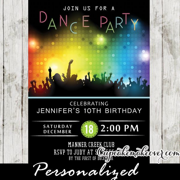 Dance Party Invitations Disco Bokeh Lights In 2019