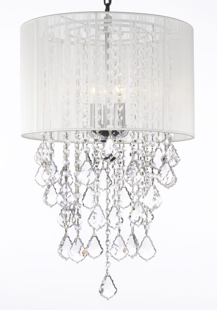 Gallery Chandeliers Crystal Chandelier With Large White Shade X Trimmed Spectra Reliable Quality By Swarovski
