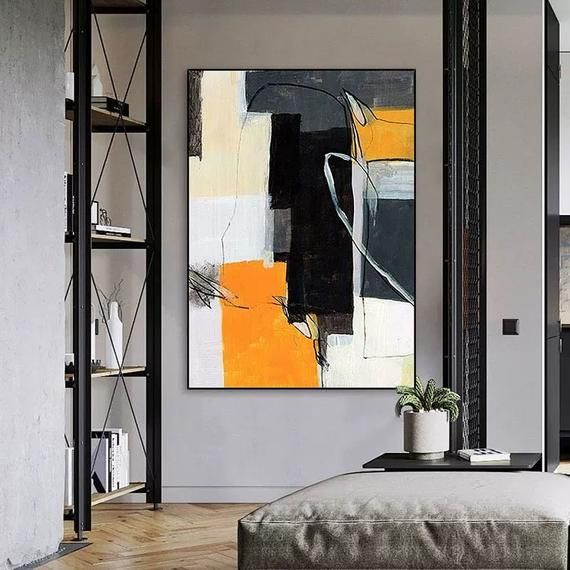 Geometric Abstract Painting Yellow Canvas Painting Beige Black Etsy Wall Art Living Room Canvas Painting Abstract Painting