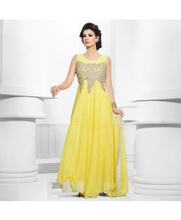 Stitched Yellow Color Net Designer Gown  #ohnineone