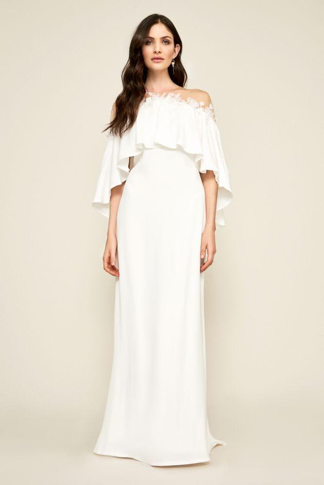 2fb3d1cfd534 One-Shoulder Crepe Wedding Jumpsuit with Bow Style DS870059
