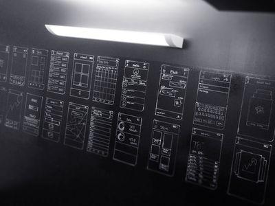 Chalkboard Wireframes: Black Wall White Drawing
