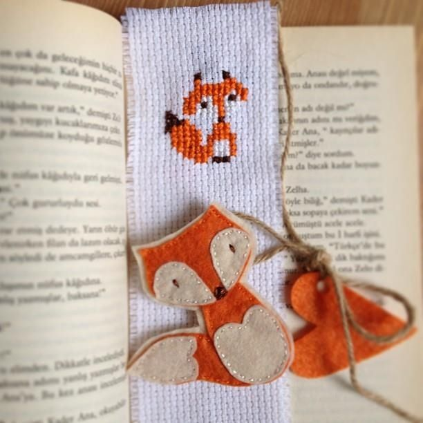 Cross stitch fox bookmark,felt fox brooch