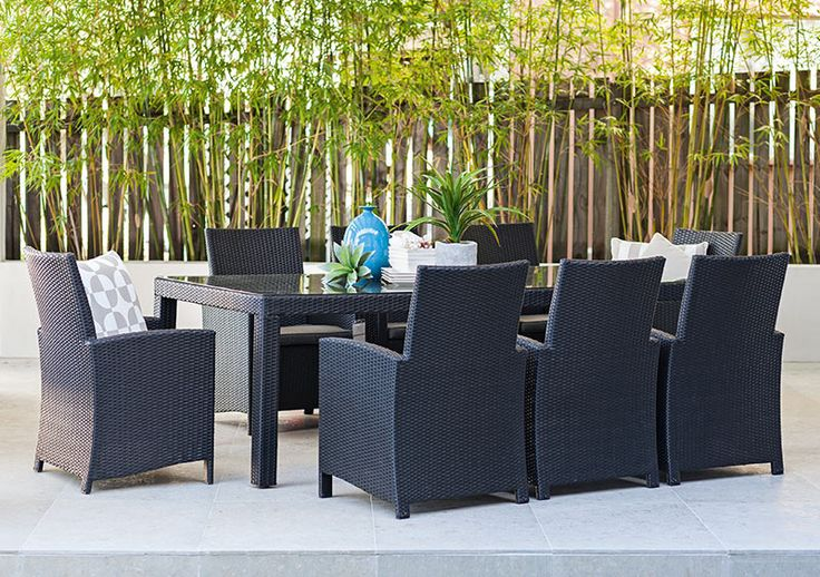 9pce stanley 2 2 x mirage black charcoal wash the for Outdoor furniture specialists