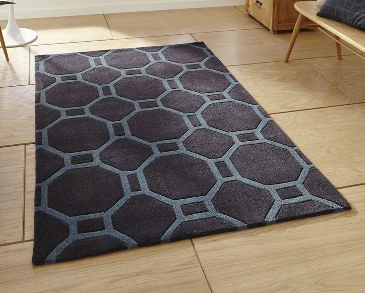 Modern charcoal blue geometric rug  150cm x 230cm (4'9 x 7'6ft)