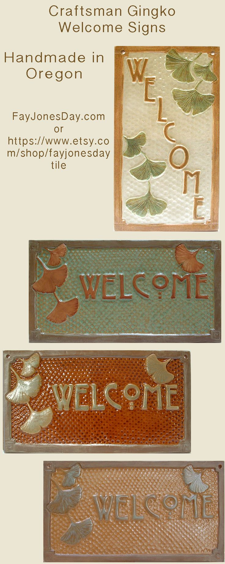 GIngko/Ginkgo Welcome signs, handmade in Oregon. Designed for your Craftsman Bungalow.