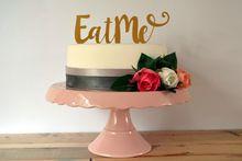 """Cake accessoire"""" Eet me"""" Spiegel goud acrfylic grappig cake toppers voor bruiloft verjaardag DIY cake decoraties levert(China (Mainland))"""