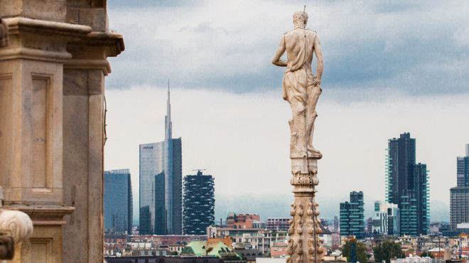 View from the Duomo rooftop, Milan, Italy