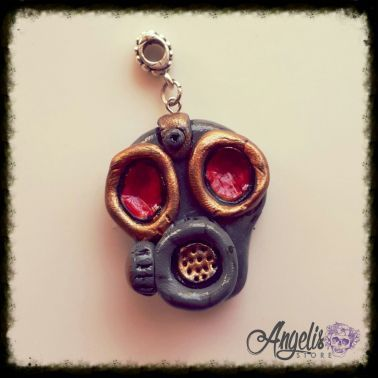Handmade Polymer Clay Grey and Red Gas Mask Pendant