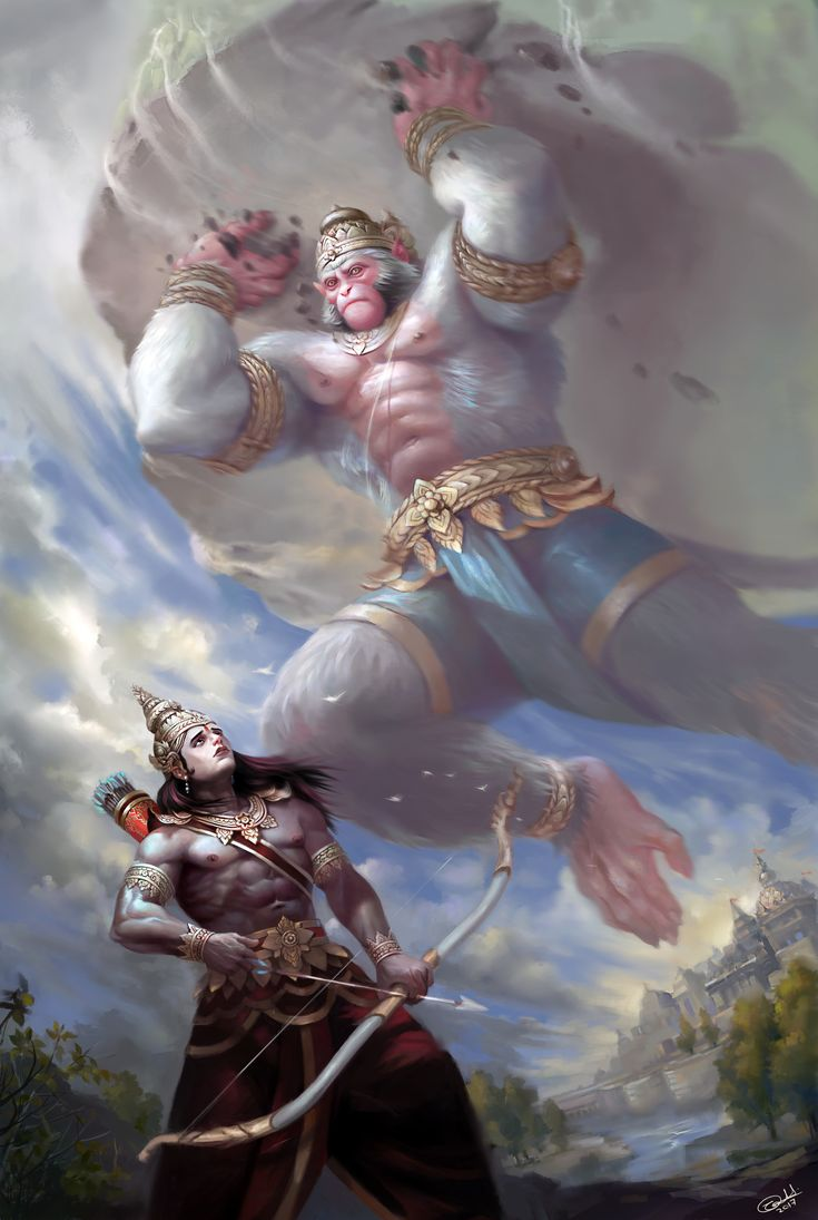 Hello people, here is my recent painting based on a part of Ramayana when Hanuman Ji flew towards the battle field of Lanka to save Lord Lakshman. Lord Bharat saw a giant monkey carrying a mountain flying in the skies of Ayodhya. Considering it a threat he tried to shoot down Hanumaan Ji with his arrow.