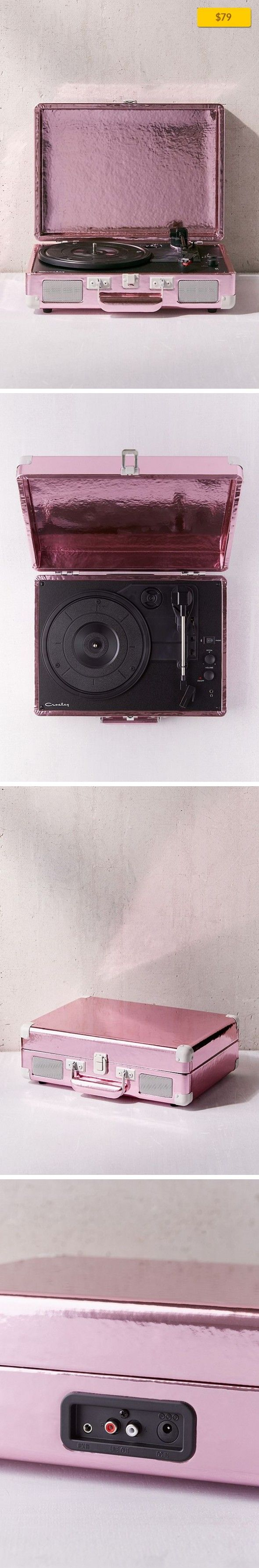Crosley Pink Foil Cruiser Bluetooth Record Player Sale, Apartment Sale, Music + Tech   Bluetooth-compatible and vintage-inspired Crosley turntable, housed in a metallic pink portable briefcase available exclusively here at UO. This record player is perfect for playing your favorite vinyl LPs, and comes complete with a headphone jack, RCA audio out, and features dynamic, full-range stereo speakers....