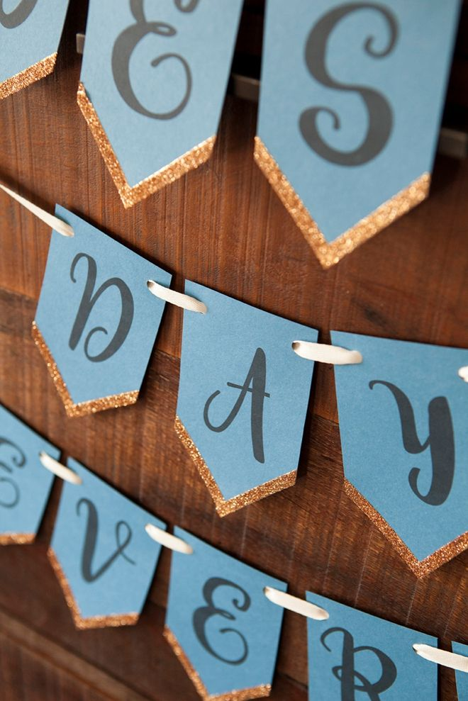 Send a message at your next party or celebration with an alphabet banner. Courtesy of Something Turquoise, these printable letters can be used to spell out any name or message. Plus, the glitter makes the whole banner pop!