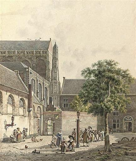 Jan Hendrik Verheyen (Dutch, 1778-1846), Figures on the Domplein with the Domkerk at the left, Utrecht signed 'JH Verheijen f' (lower right) pencil, ink and watercolour on paper