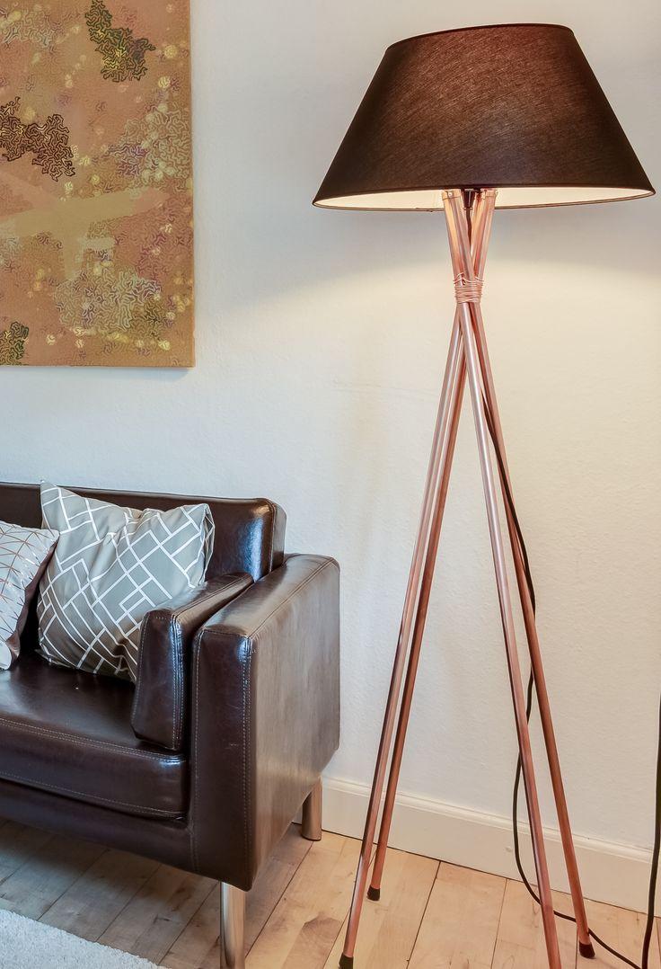 Home made cobber lamp - used on a home staging job in Copenhagen, Denmark
