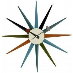George Nelson Style MultiColoured Sunburst Clock