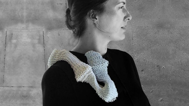 Carrie Dickens - long brooch, nylon, sterling silver 400 x 60 x 40 mm