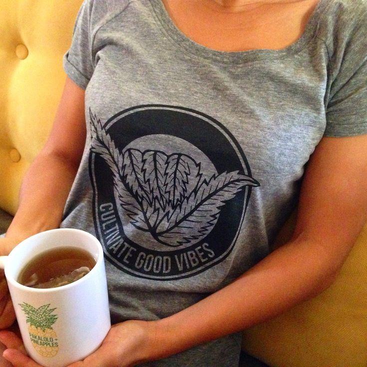 Cultivate Good Vibes women's shaka tshirt |  Hawaii-based marijuana clothing company | PakaloloAndPineapples.com