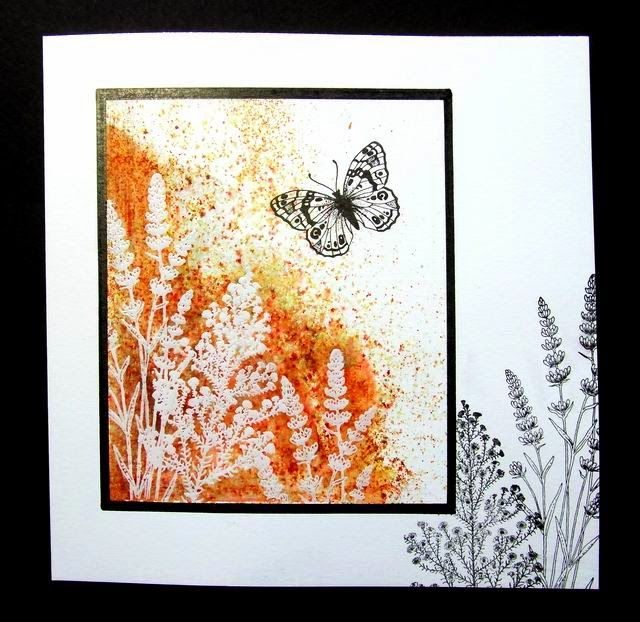A one layer card with Brusho background and Chocolate Baroque stamps.