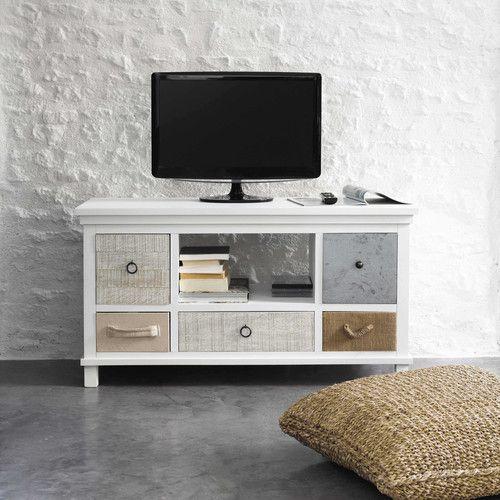 Meuble tv en bois blanc l 110 cm ouessant tvs for Meuble tv 110 cm blanc