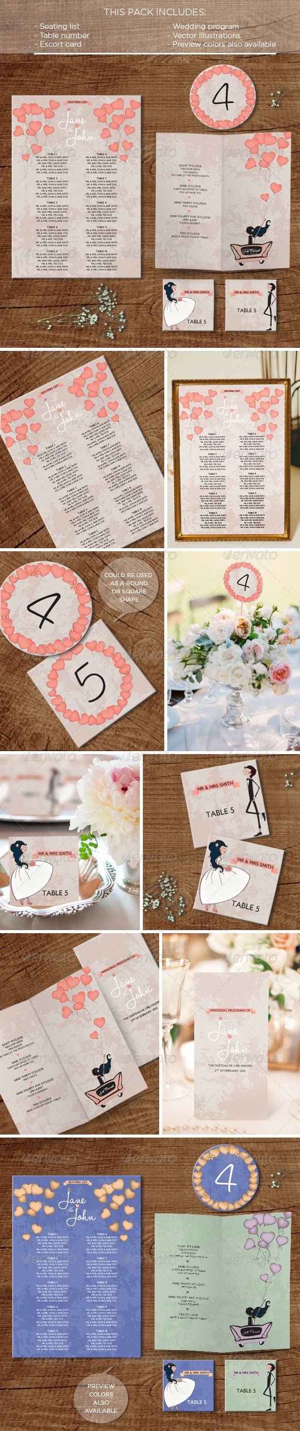 In the Air: Wedding Pack  #GraphicRiver        This pack includes   Seating list (A4: 21×29.7 cm)  Table number (10×10 cm)  2 Escort Card designs (7×7 cm)  Wedding Program (closed: 11×21 cm, open: 21×21 cm)    Main file: InDesign file fully editable   EPS files with different color proposals & the vector illustrations The free fonts used can be found on:   .dafont /halohandletter.font   .dafont /london-between.font     Created: 29June13 GraphicsFilesIncluded: VectorEPS #InDesignINDD Layered…