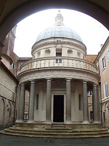 This is a Italian style building with roman and greek influence. Painting Name: Tempietto Artist: Bramante Created: 1560 Location: San Pietro, Rome Period: Italian Renaissance  Subject: building architecture
