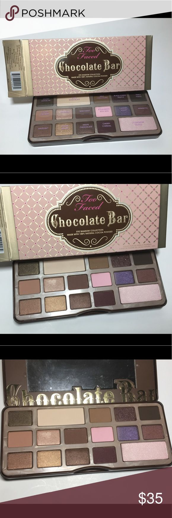 NIB Too Faced Chocolate Bar. Cocoa powder. 100% NIB Too Faced Chocolate Bar. Made with 100% Cocoa Powder. Some scratches on Palette and some Eyeshadows. 100% Authentic. Please see pictures as this is the actual item you will receive. Please feel free to ask any questions and I will get back to you as soon as possible. Thank you! Too Faced Makeup Eyeshadow